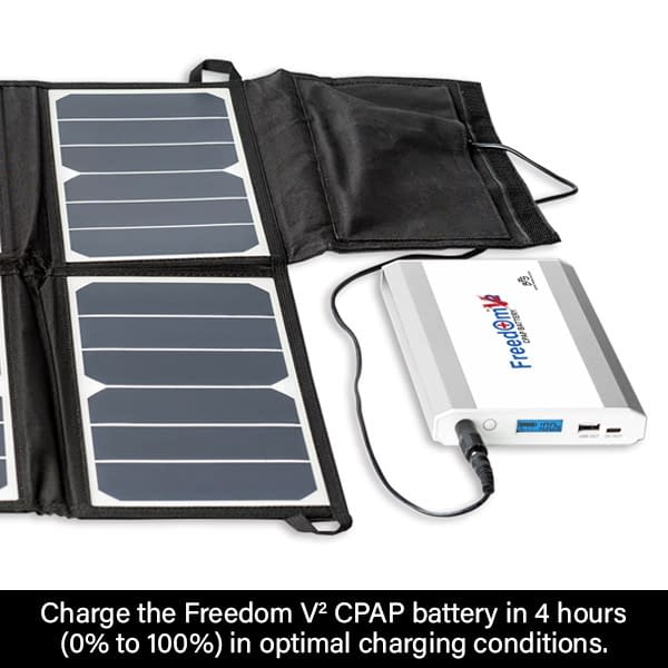 Charge the Freedom V² CPAP Battery in 4 hrs (in optimal conditions)