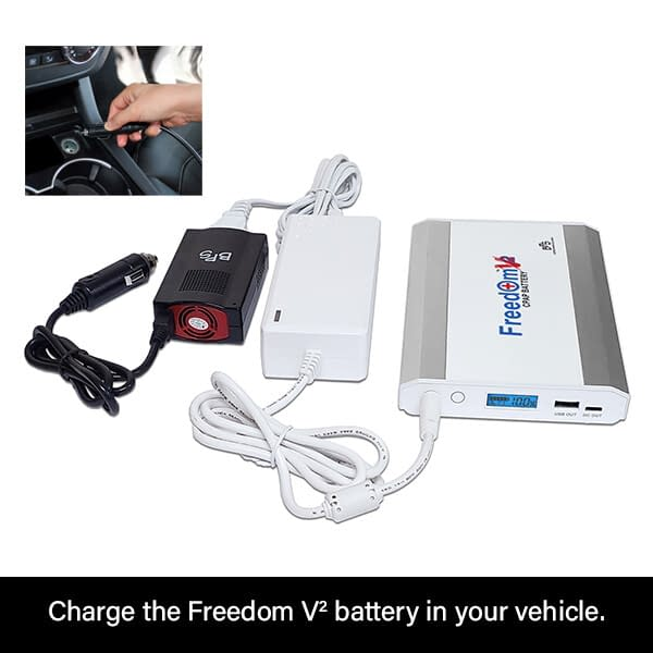 Charge the Freedom V² CPAP Battery in a Vehicle