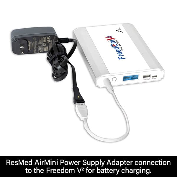 ResMed AirMini Power Supply Adapter Connection to Freedom V² Battery